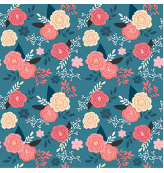 Vintage pink floral garden seamless pattern on vector