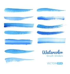 Watercolor Blue Brush Stroke Set vector image