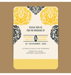 Wedding vintage wedding invitation card vector