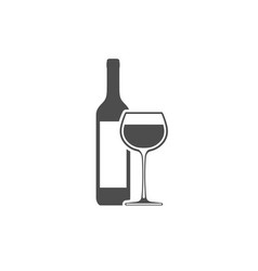 wine bottle with wineglass icon isolated vector image