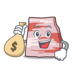 With money bag pork lard character cartoon vector