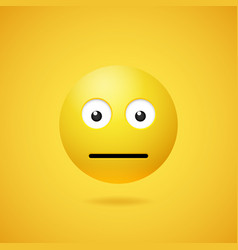Yellow neutral emoticon with opened eyes vector