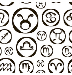 zodiac icon set pattern vector image