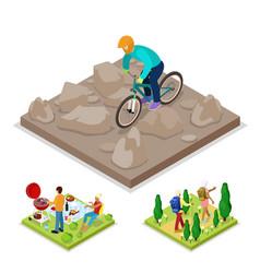 isometric outdoor activity mountain bike vector image vector image
