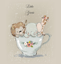 little animals in the cup vector image vector image