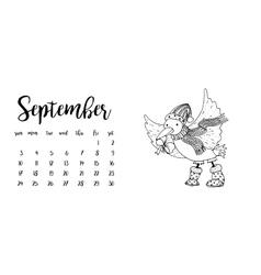 Desk calendar template for month September vector image