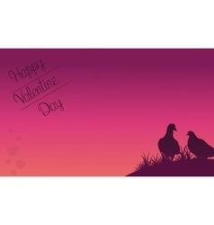 Happy valentine day with dove on hill vector image