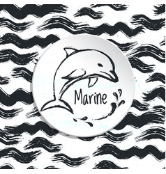 ink hand drawn marine background vector image