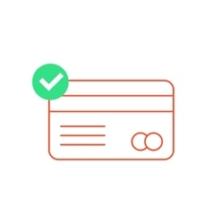 red outline credit card with green check mark vector image