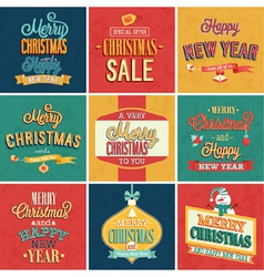 Set of Christmas and New Year emblems vector image vector image