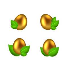 set of golden eggs in green leaves vector image