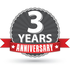 Celebrating 3 years anniversary retro label with vector image