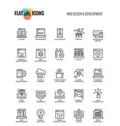 flat line icons design-web design and development vector image vector image