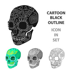 mexican calavera skull icon in cartoon style vector image vector image