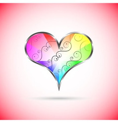 Rainbow heart with curly pattern inside vector