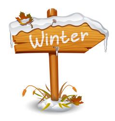 winter wooden arrow board vector image vector image