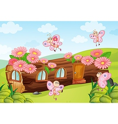 Butterflies and a wood house vector image vector image