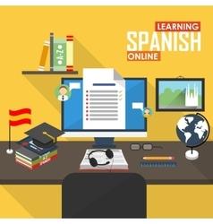 E-learning Spanish language vector image vector image