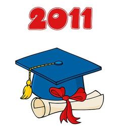 Graduation hat cartoon vector image