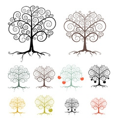 Trees set isolated on white background - abstract vector