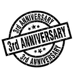 3rd anniversary round grunge black stamp vector image