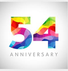 54 anniversary color logo vector