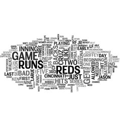 arizona d backs vs cincinnati reds text word vector image