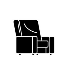 armchair black icon sign on isolated vector image