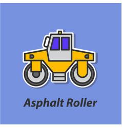 asphalt roller color flat icon vector image