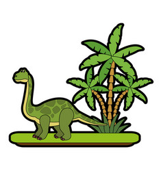 Big dinosaur on forest cartoon vector