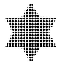 Black dot six pointed star icon vector