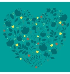 Blue floral heart with red and yellow hearts vector