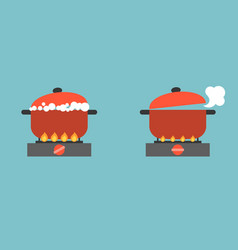 Boiling pot on stove with bubble and steam vector