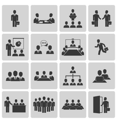 Business meeting and conference icons set vector image