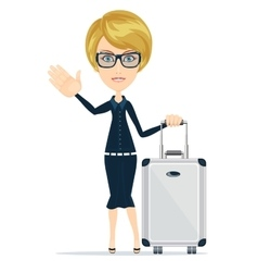 Businesswoman travelling isolated on white vector image