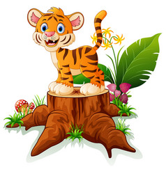 cartoon funny baby tiger posing on tree stump vector image