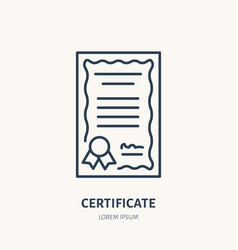 Certificate patent flat line icon license vector