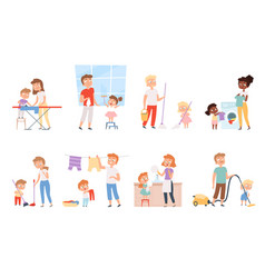 Children housework cleaning room washing vector