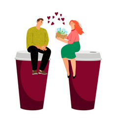coffee dating couple vector image