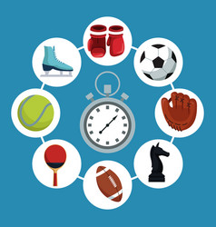 color background with chronometer with icons vector image
