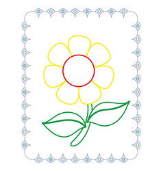coloring book of cute flower yellow chamomile vector image
