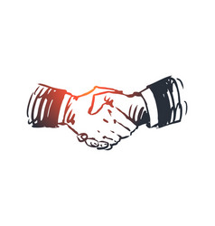 commitment hand deal business partnership vector image