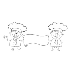 Cooks with poster outline vector image vector image