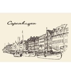 Copenhagen Denmark hand drawn vector