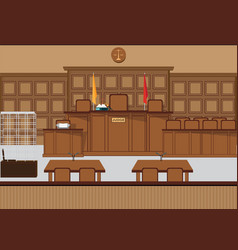 Court of law hall with wooden furniture vector
