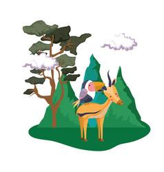 Cute bird toucan with deer in the landscape vector