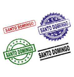 Damaged textured santo domingo seal stamps vector
