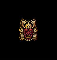 devil samurai mascout logo vector image