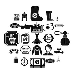 discounts icons set simple style vector image