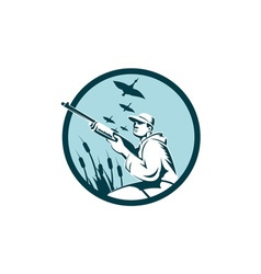 Duck Hunter Rifle Circle Retro vector image